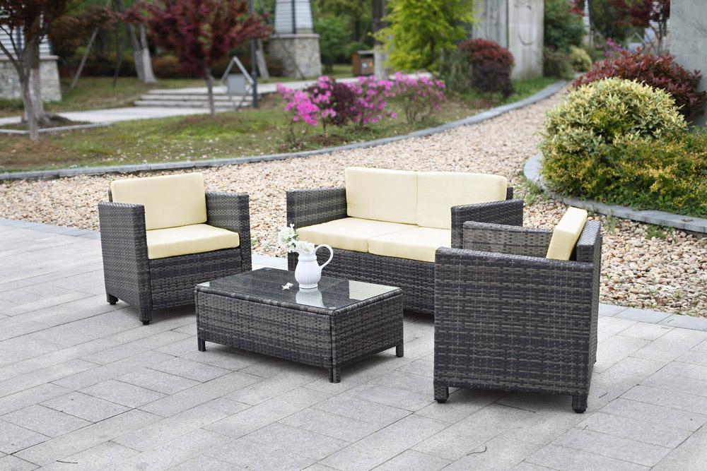 Rattan Garden Furniture Set 4pcs Sofa Table Outdoor Patio Cushioned Gray Du A5h1 Ebay