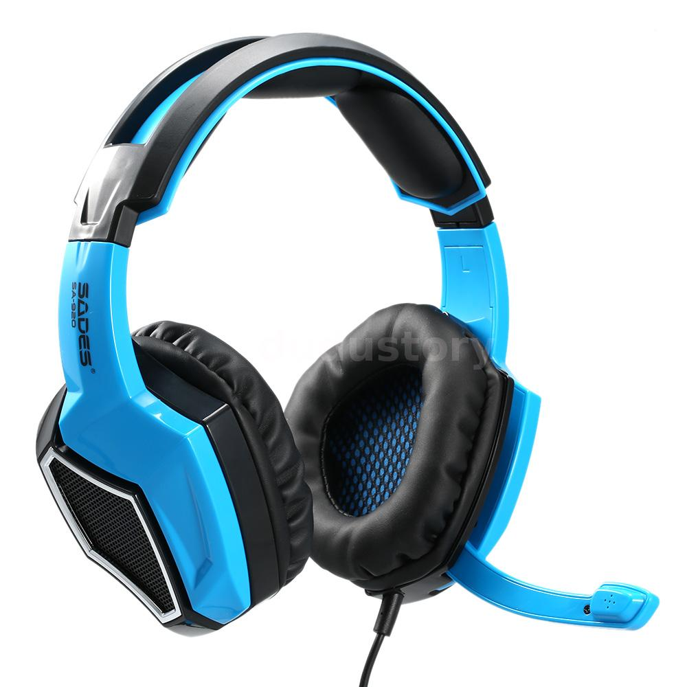 sades sa920 casque bleu de jeux serre t te avec micro pour pc ps4 pro gamer i0p8 ebay. Black Bedroom Furniture Sets. Home Design Ideas